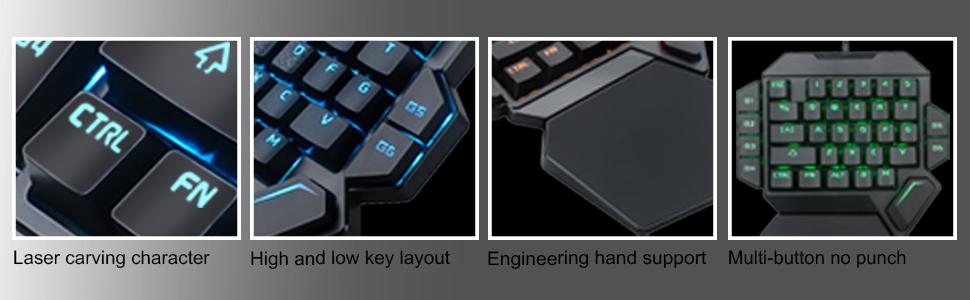 10 Tastatura One Hand Mecanica RGB RoPlayer K50